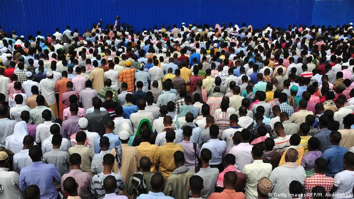 Thosuands attend a prayer service in the Somali capital, Mogadishu.