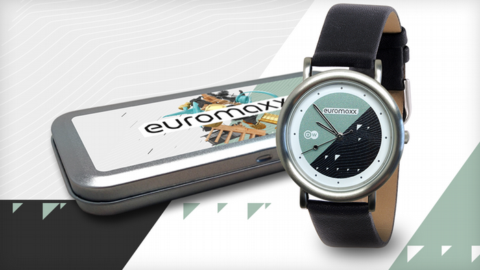 DW Euromaxx Zuschaueraktion neutral mit Uhr als Gewinn