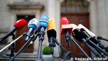 20.10.2017 *** Microphones of various media outlets are seen outside the German Parliamentary Society offices, where the exploratory talks about forming a new coalition government are held in Berlin, Germany, October 20, 2017. REUTERS/Axel Schmidt