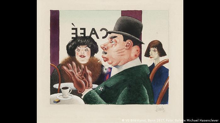 Frankfurt - Schirn Kunstfalle - Weimar Republik Ausstellung: Georg Scholz, Café (Hakenkreuzritter), 1921 (VG Bild-Kunst, Bonn 2017, Foto: Galerie Michael Hasenclever)