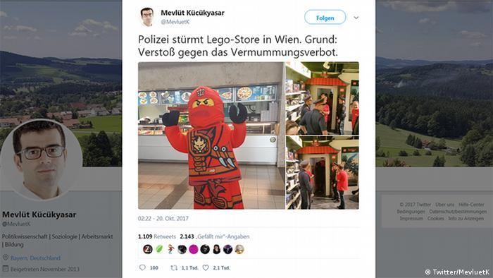 Screenshot Twitter - Polizei stürmt Lego-Store in Wien. Grund: Verstoß gegen das Vermummungsverbot.