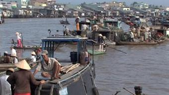 Boats on the Mekong River in Vietnam