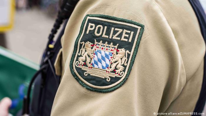 A Munich police badge on the sleeve of an officer