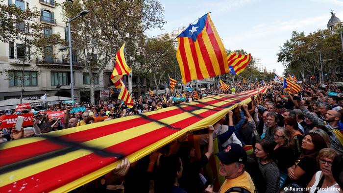Демонстрация в Барселоне за независимость Каталонии