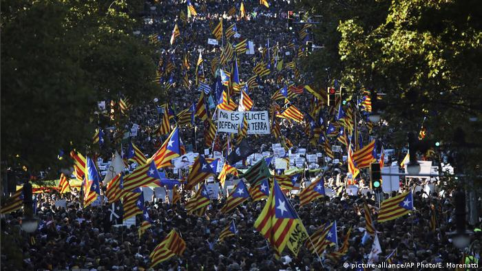 Protesters marching in Barcelona