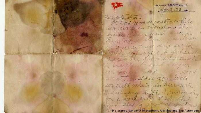 A stained letter written by Titanic-Passanger Alexander Oskar Holverson