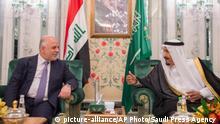 In this Monday, June 19, 2017 photo released by Saudi Press Agency, SPA, and made available today, Iraqi Prime Minister Haider al-Abadi, left, meets Saudi King Salman in Jiddah, Saudi Arabia. (Saudi Press Agency via AP) |