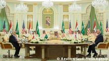 Iraqi Prime Minister Haider Al-Abadi, Saudi Arabia's King Salman bin Abdulaziz Al Saud and U.S. Secretary of State Rex Tillerson attend a meeting in Riyadh, Saudi Arabia October 22, 2017. Saudi Press Agency/Handout via REUTERS ATTENTION EDITORS - THIS PICTURE WAS PROVIDED BY A THIRD PARTY. NO RESALES. NO ARCHIVE.