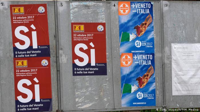 Плакаты с призывом к жителям итальянского региона Венето проголосовать за расширение автономии