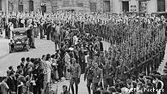 The German Condor Legion marches through the streets of León in a farewell parade, May 25, 1939.