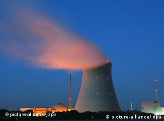 A cooling tower at a nuclear power plant in Germany