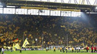 The fan block at Dortmund's Signal Iduna Park stadium