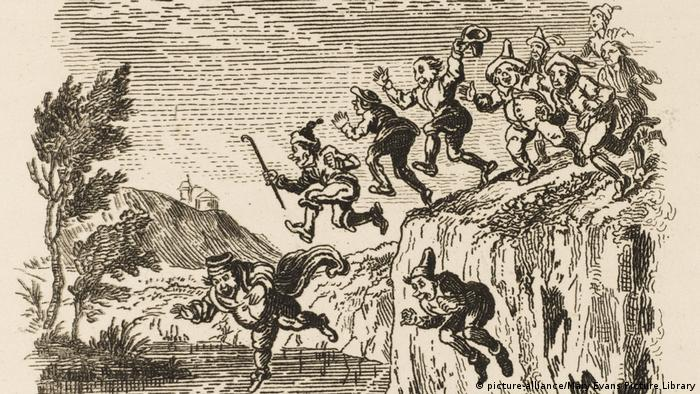 People jumping off a cliff (picture-alliance/Mary Evans Picture Library)