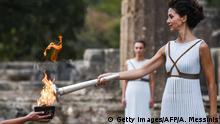 Griechenland Flamme für die Olympischen Winterspiele PyeongChang 2018