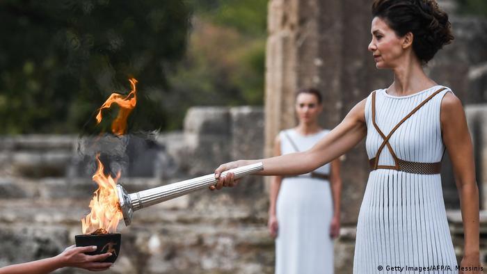 Зажжение олимпийского факела