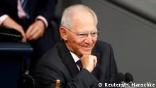 24.10.2017+++ Newly elected Bundestagsraesident Wolfgang Schaeuble, smiles as he conducts the first plenary session at the German lower house of Parliament, Bundestag, after a general election in Berlin, Germany, October 24, 2017. REUTERS/Hannibal Hanschke