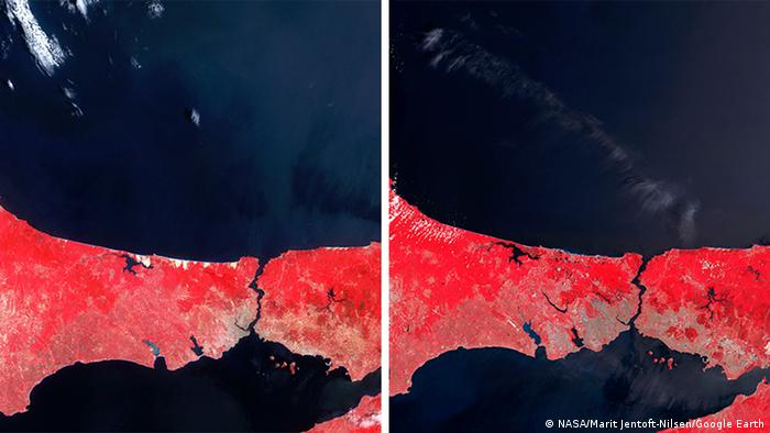 Bildkombo Istanbul Grünflächen (NASA/Marit Jentoft-Nilsen/Google Earth)