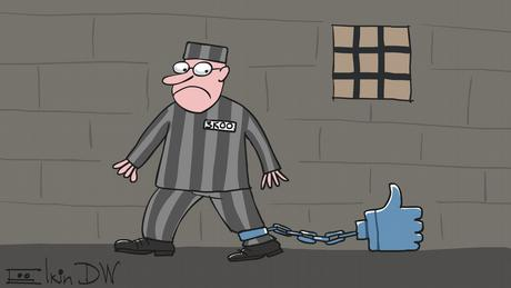 A caricature by Sergey Elkin showing a prisoners chained to a facebook like-button