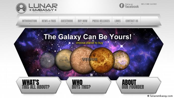 Screenshot lunarembassy.com The galaxy can be yours (lunarembassy.com)