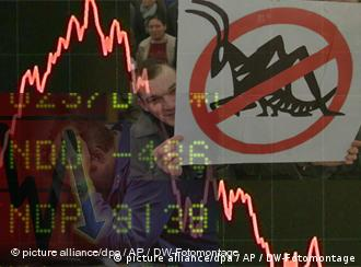A symbolic fotomontage showing a plunging stock market chart superimposed over a no locusts sign