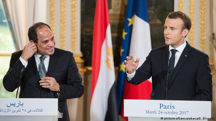 French President Emmanuel Macron and Egyptian President Abdel-Fattah al-Sissi during a press conference Photo by Eliot Blondet/ABACAPRESS.COM