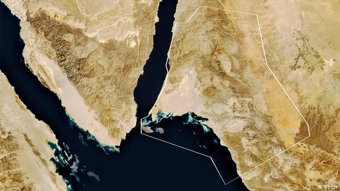 O projeto Neom ocupará uma área de 26,5 mil quilômetros quadrados próximo ao Mar Vermelho e ao Golfo de Aqaba