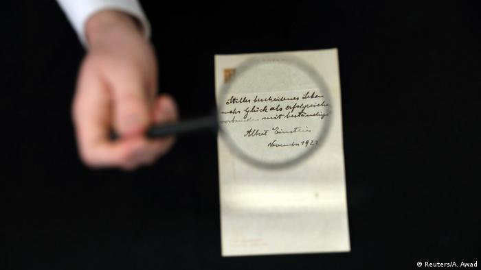 Albert Einstein's note on happiness sells for $1.3 million at Jerusalem auction