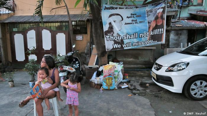 A banner on a hut in the Philippines