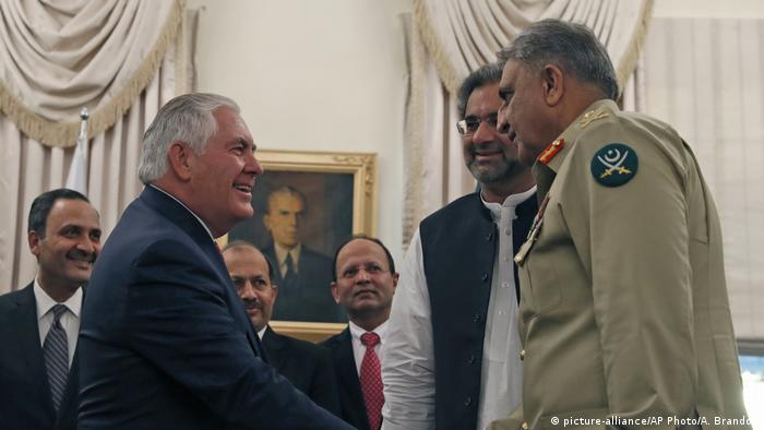 Rex Tillerson with Pakistani PM Abbasi and army chief Bajwa in Islamabad