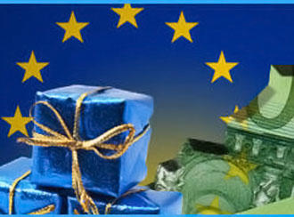 graphic of European Union logo with image of euro bill and wrapped parcels