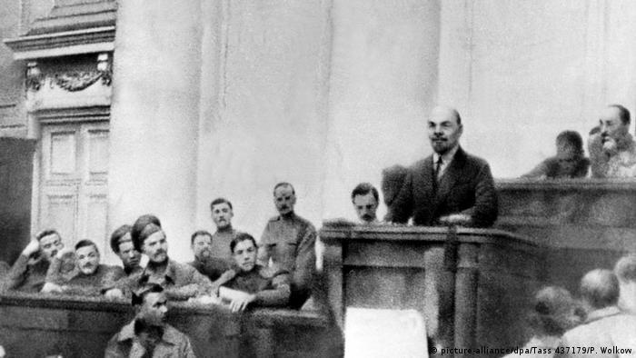 Lenin holds a speech in Petrograd in 1917