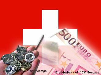 Swiss flag with euro bill