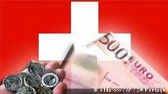 Swiss flag with euros and francs