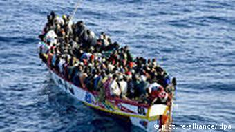 Boat full of illegal immigrants from Africa