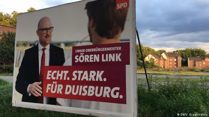 Pancartă electorală a primarului social-democrat Sören Link