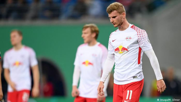 Timo Werner looks disconsolate after Leipzig's defeat to Bayern Munich in the German Cup. October 25, 2017 — Red Bull Arena, Leipzig.