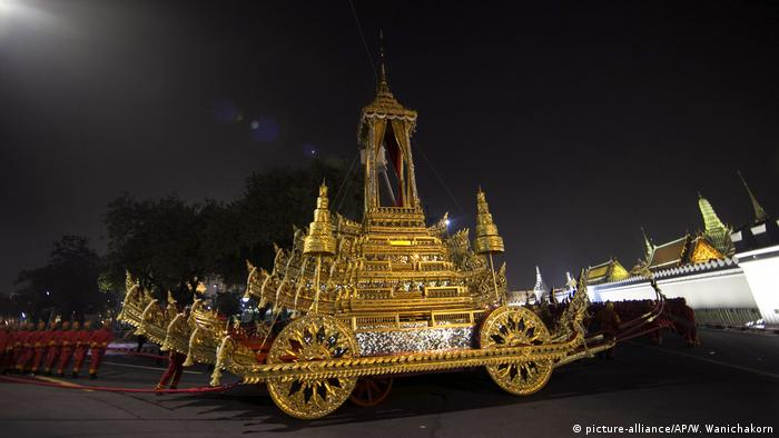 The royal carriage will transport the late king's remains through Bangkok