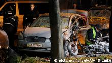 26.10.2017 KIEV, UKRAINE - OCTOBER 26 : Police experts examine the crime scene after an explosion in Kiev, Ukraine on early Thursday on October 26, 2017. After the explosion that took place on late October 25, three people were injured, including the deputy of the Radical Party Igor Mosiychuk, and one person was killed. Vladimir Shtanko / Anadolu Agency | Keine Weitergabe an Wiederverkäufer.