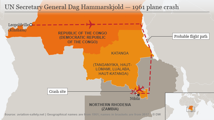 A map shows the site of the plane crash