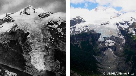 El cambio que ha sufrido el glaciar Frías, en el sur de Argentina, en un lapso de 70 años.