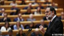 Spain's Prime Minister Mariano Rajoy delivers his speech during a debate at the upper house Senate in Madrid, Spain, October 27, 2017. REUTERS/Susana Vera