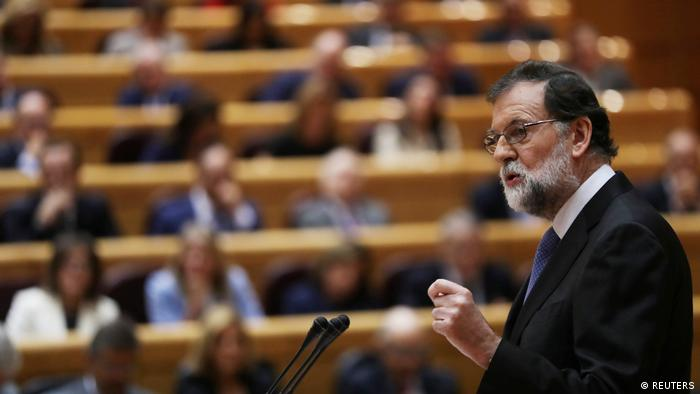 Spain's PM Rajoy delivers his speech during a debate at the upper house Senate in Madrid (REUTERS)