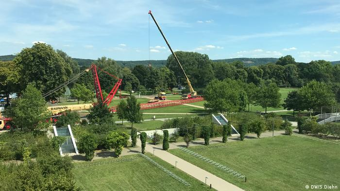 Bauarbeit des COP23-Geländes im DW-Hinterhof Bonn (DW/S.Diehn)