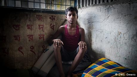 Rohingya boy in a shelter