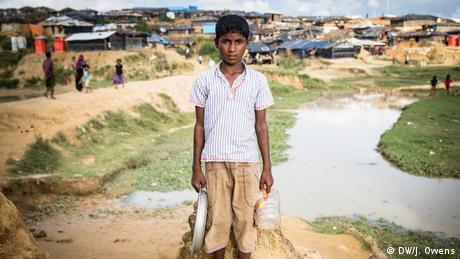 Rohingya boy outside a refugee camp