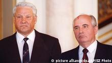 On this 1991 file photo former Soviet President Mikhail Gorbachev, right, stands with Russian President Boris Yeltsin. President Boris Yeltsin announced on national television Friday, Dec. 31, 1999 that he had resigned and presidential elections will be held within 90 dayes to replace him.