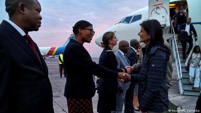US Ambassador to the UN is received upon arriving at the N'Djili International Airport in Kinshasa (Reuters/R. Carrubba)