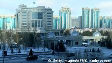 A picture taken on January 23, 2017 shows a view of Astana's Rixos President Hotel, the venue for Syria peace talks. / AFP / Kirill KUDRYAVTSEV (Photo credit should read KIRILL KUDRYAVTSEV/AFP/Getty Images)
