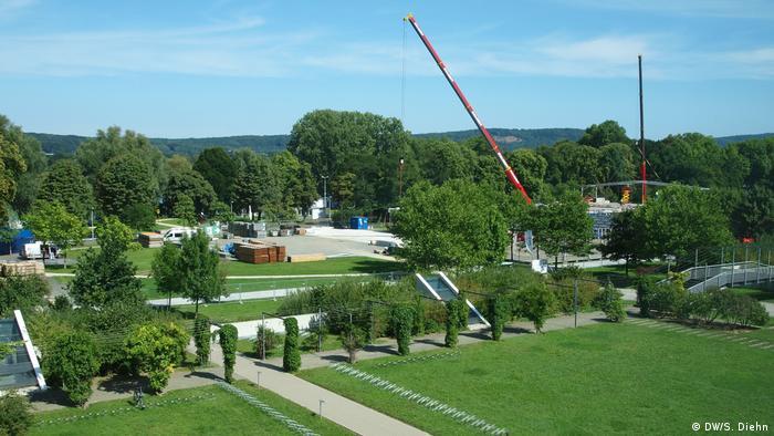 Anfang der Bauarbeit des COP23-Geländes im DW-Hinterhof Bonn (DW/S. Diehn)