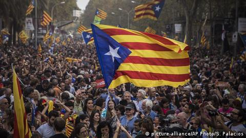 Supports of independence protest outside of the Cataln parliament in Barcelona.